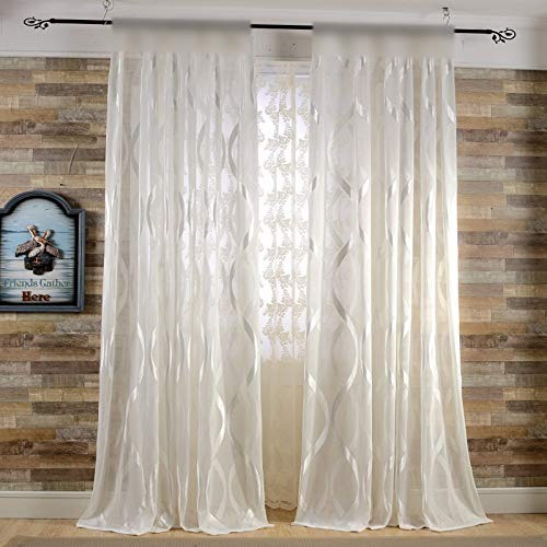 els) Striped Sheer Curtain Simple Elegant Bay Window Panel Parlor Cream Tulle Voile Rod Pocket Flocked Drapes Window Treatment Set 39 inch Wide 96 inch Long Sheer Tulle Curtains ()