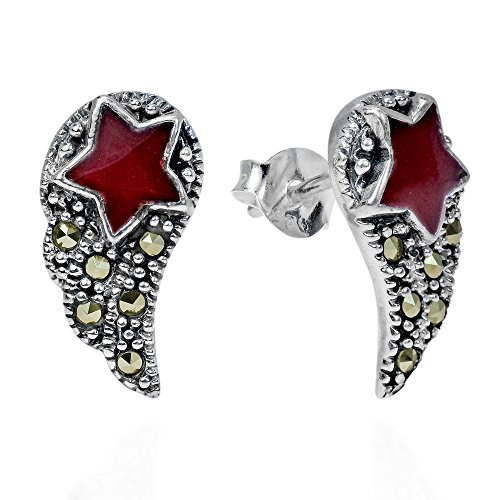 Angelic Star - Angelic Wings Shooting Red Star Marcasite Style Pyrite .925 Sterling Silver Stud Earrings