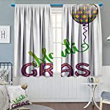 Chaneyhouse Mardi Gras Room Darkening Curtains Illustration of Cartoon Mardi Gras Color Balloon with Swirl Ribbon Decor Curtains by 72″ W x 84″ L Purple Green Yellow For Sale