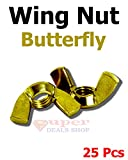 25 Pcs 1/4-20 Solid Brass Butterfly Washered Wing Nut Fasteners Parts Choose Size/Quantity In Listing Made in US Super-Deals-Shop
