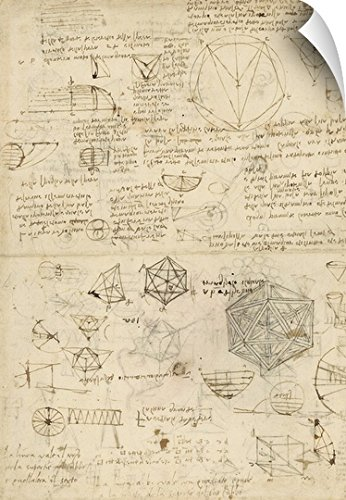Canvas on Demand Leonardo da Vinci Wall Peel Wall Art Print entitled Cube, sphere, icosahedron; mention of known project for telescope from Atlantic Codex 16