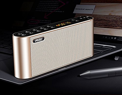 RONSHIN Portable Bluetooth Speakers,Portable Bluetooth Speaker Wireless Handsfree Pocket Audio Speaker Subwoofer HiFi LED Display Speaker with Mic Gold Official Standard by RONSHIN