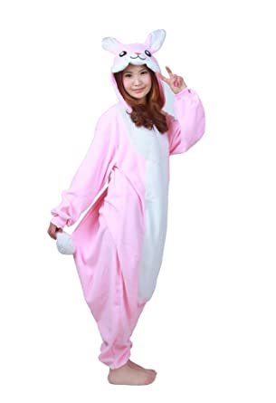 Pink Bunny Best Quality Unisex Fleece Adult Animal Onesies,Cute Cosplay Costume Onesies Pyjamas Pijamas
