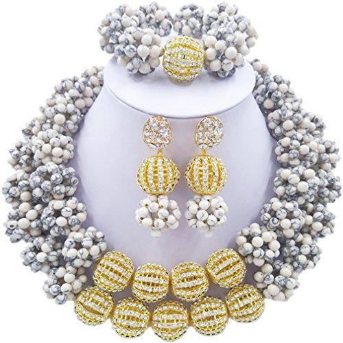 Laanc 2rows Rouge Collier de perles Turquoise et strass Doré du Nigeria africain Bijoux Femme Définit (Blanc Turquoise et strass Doré)