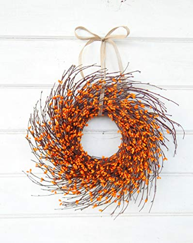 Mini Wreath-Fall Wreath-Window Wreath-Fall Decor-Autumn Wreath-ORANGE Wreath-Twig Wreath,