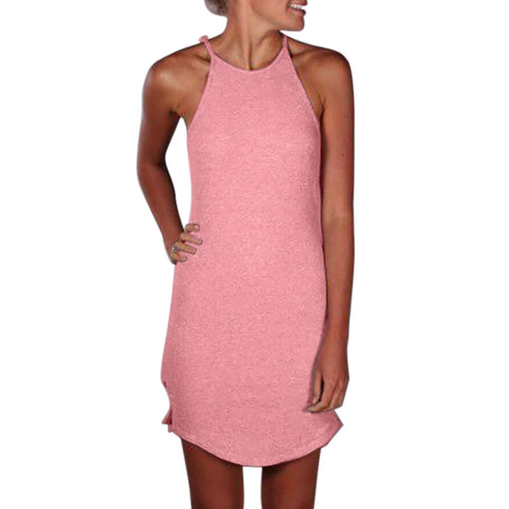 ZEFOTIM ✿ Fashion Casual Dress for Women Crew Neck Asymmetric Hem Plain Sleeveless Dresses(Pink,X-Large)