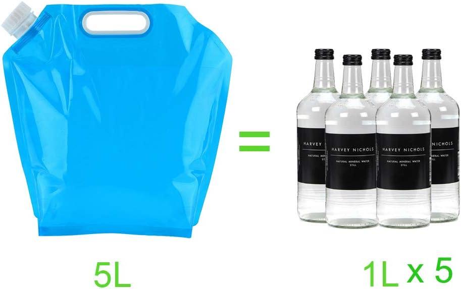 SPTwj 4 x Lata de Agua Plegable 5L Tanques de Agua Potable port/átiles Lata Plegable para Acampar Libre de BPA Comida Segura para Caminar Viajes Picnic de Viaje BBQ USW Tanque de Agua Azul