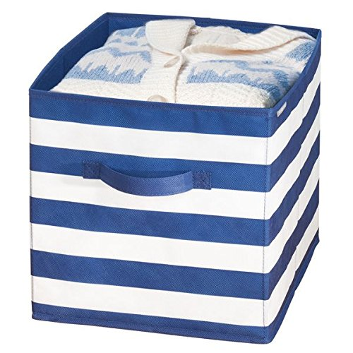 mDesign Soft Fabric Closet Organizer Bin Box - Front Handle - Cube Storage for Child/Kids Room, Nursery, Toy Room, Furniture Organization - 10.5'' high - 2 Pack, Bold Stripe Pattern, Navy Blue/White