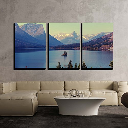 wall26 - 3 Piece Canvas Wall Art - Bowman Lake in Glacier National Park, Montana, USA - Modern Home Decor Stretched and Framed Ready to Hang - 16