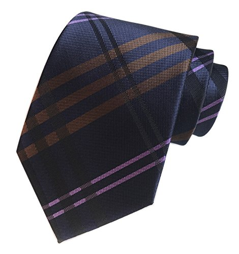 Men's Navy Blue Brown Pink Geometric Striped Plaids Tie Trendy Patterned Necktie (Pink Brown Striped Tie)