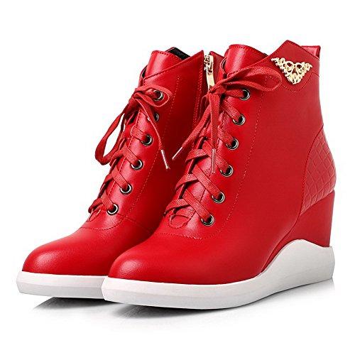 AllhqFashion Mujeres Puntera Redonda Sólido Cremallera Caña Baja Plataforma Botas con Metal Rojo
