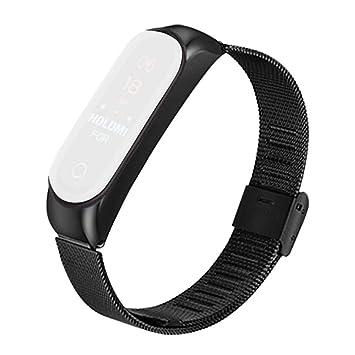 Zolimx Para Xiaomi Huami Amazfit Bip Smartwatch Acero Inoxidable Amazfit Bip Correa Reloj (Negro)