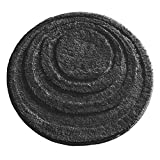 mDesign Soft Microfiber Polyester Non-Slip Round Spa Mat, Plush Water Absorbent Accent Rug for Bathroom Vanity, Bathtub/Shower - Concentric Circle Design, Machine Washable - 24' Diameter - Black