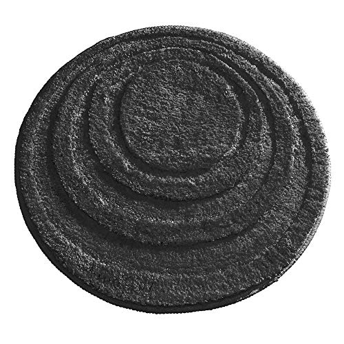 mDesign Soft Microfiber Polyester Non-Slip Round Spa Mat, Plush Water Absorbent Accent Rug for Bathroom Vanity, Bathtub/Shower - Concentric Circle Design, Machine Washable - 24