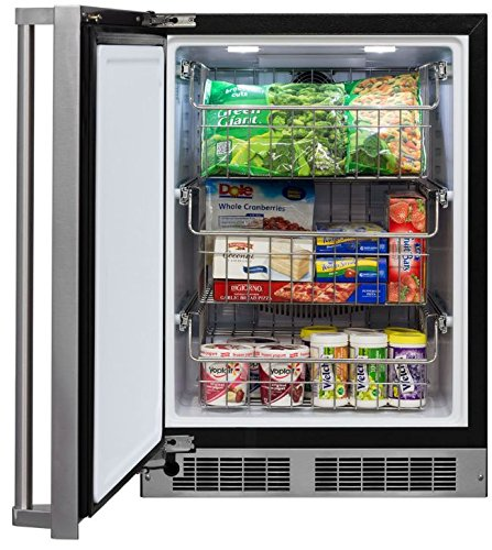 Marvel MP24FAS3LS Professional All Freezer with Frost Free Operation and 200lbs Capacity, Left Hinge, 24'', Stainless Steel