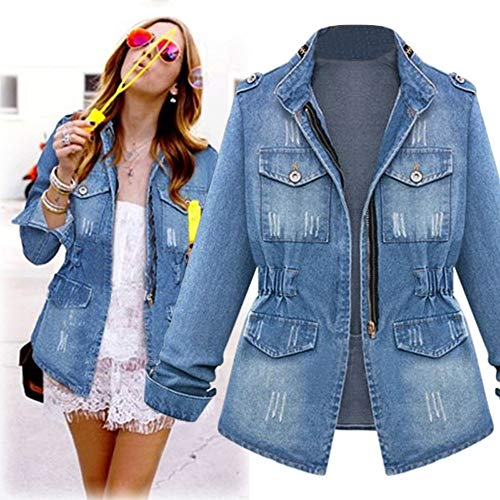 LandFox Spring Fall Jacket with Pockets,Plus Size Casual Womens Ladies Denim Oversize Jeans Chain Jacket Pocket Coat,Blue,L2