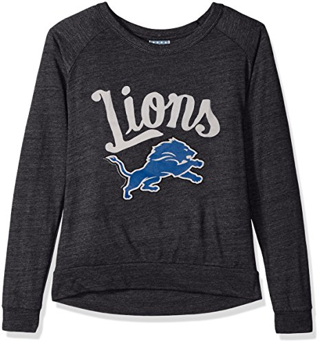 Junk Food NFL Detroit Lions Women's Long Sleeve Tee, X-Small, Charcoal Heather