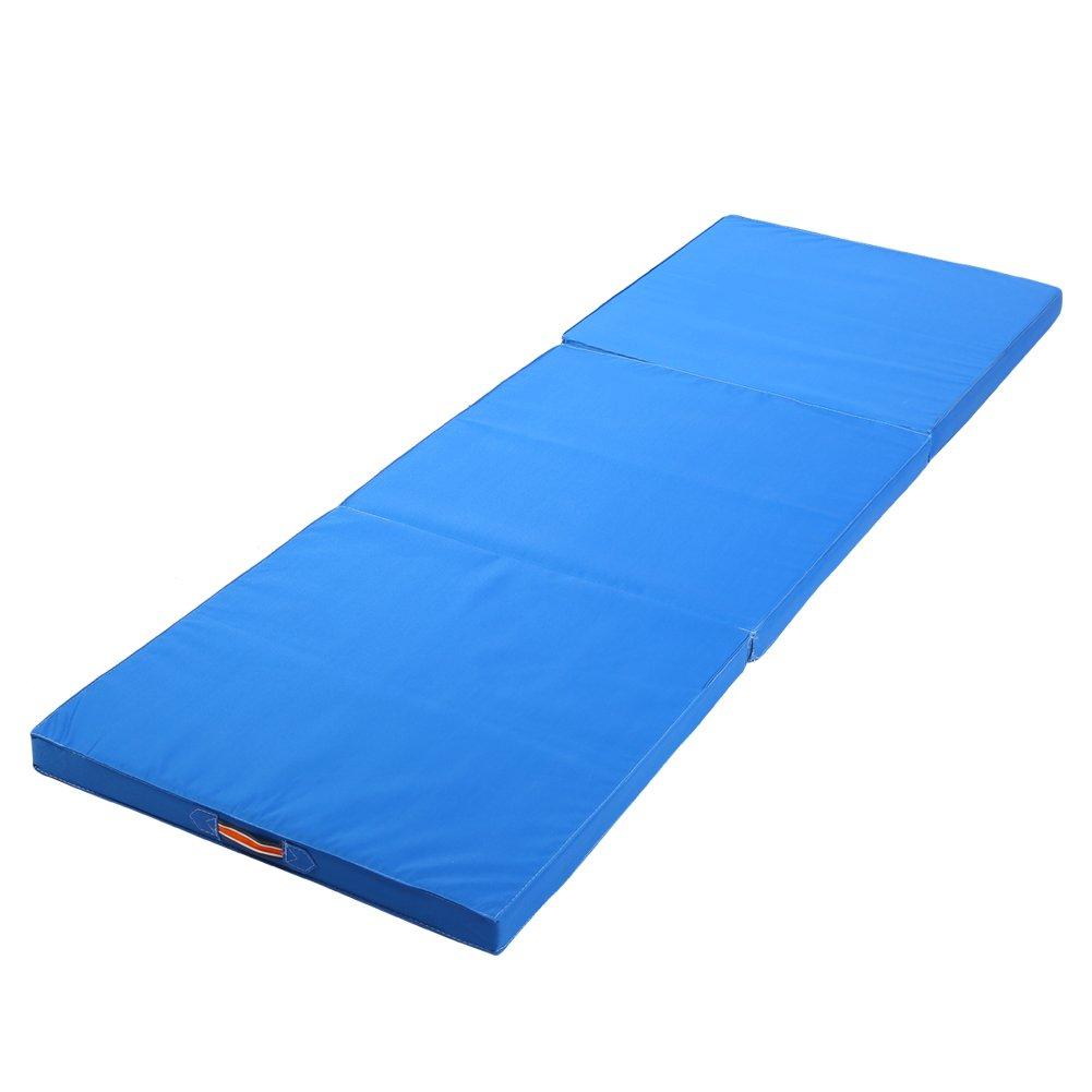 Triple Plegable Ejercicio Yoga Gimnasia Alfombrilla, 6 ft Grande Plegable Ejercicio Mat 5 cm de Grosor Estiramiento Yoga Mat con Cosido Asas para ...
