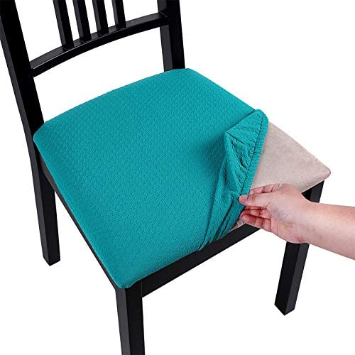 4 Pack,Denim Blue TIANSHU Spandex Jacquard Chair Seat Covers,Removable Washable Elastic Cushion Covers For Dining Chair