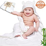 Bamboo Hooded Bath Towels For Baby (Kids) - Hypoallergenic Extra Soft Water Absorbent Towel Large Fibers 35''x35''- Keeps Baby Quick-Dry and Warm - Sized for Newborn, Infant, Toddler & Kids By Tacoki