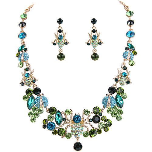 EVER FAITH Women's Crystal Spiders Beetles Lovely Insect Necklace Earrings Set Green Gold-Tone
