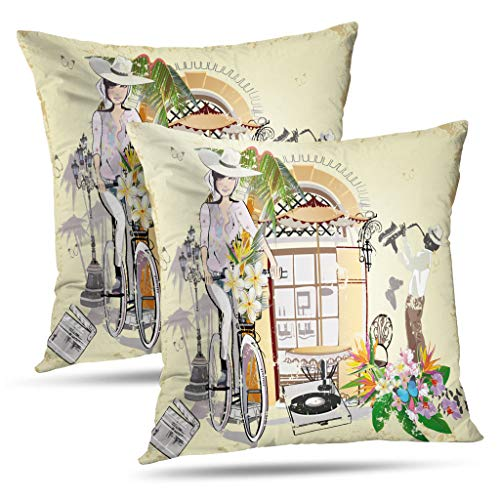(LALILO Set of 2 Throw Pillow Covers Series Vintage with and Old City Streets America Ancient Double-Sided Pattern for Sofa Cushion Cover Couch Decoration Home Bed Pillowcase 18x18)