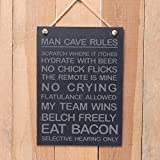 Large Slate Hanging Sign - Man Cave Rules - scratch where it itches, hydrate with beer......- a great present for a birthday day or fathers day by The Slate Range