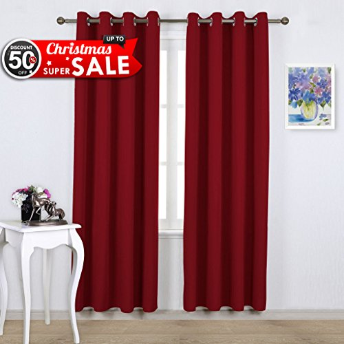 NICETOWN Burgundy Blackout Curtains Christmas Gift - Xmas Home Decorations Thermal Insulated Solid Grommet Top Blackout Living Room Panels / Drapes for Gift (One Pair, 52 x 84-Inch, - Christmas Decorations Real Living