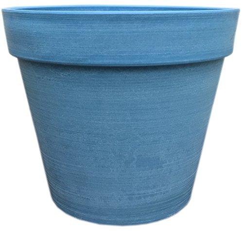 Spigo Contemporary UV-Protected Resin Flower Pot, 14 Inches, Blue