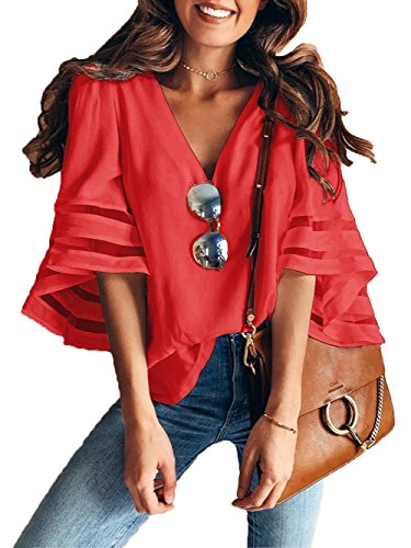 Charlotte Womens 3/4 Bell Sleeve V Neck Lace Patchwork Blouse Casual Loose Shirt Tops Flare Sleeve Tops Bouse Red Small (Blouse Charlotte)