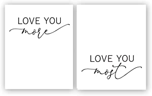 "Set of 2 Black and white Inspirational Quotes wall art print ,Posters with Love quotations,Wall Art canvas for living room decorate room home decor ,gift.(Unframed,8""X10""inches)."