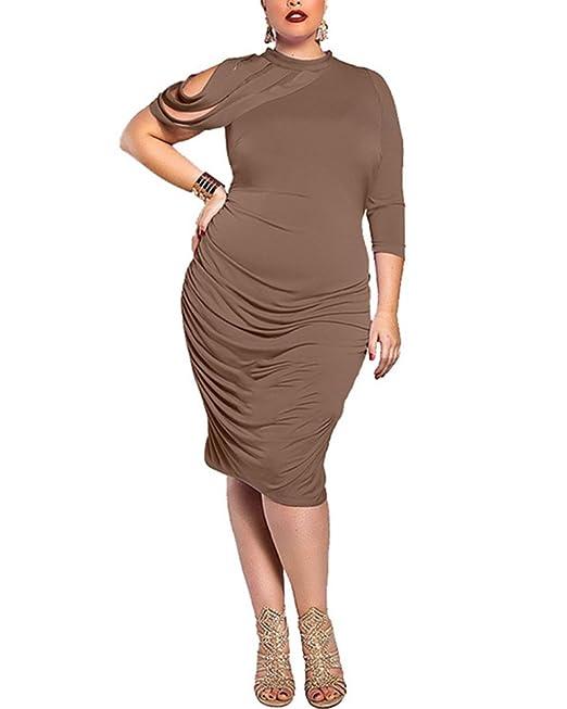 Mujer Talla Extra Vestidos De oficina Midi Vestido De Fiesta Vestidos Cocktail Falda Lapiz Bodycon: Amazon.es: Ropa y accesorios