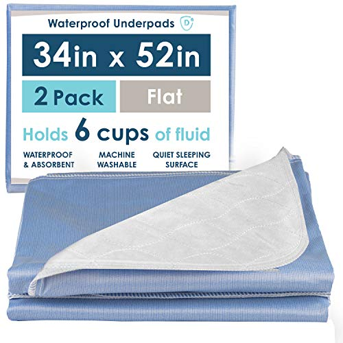 2 Pack of Waterproof Bed Pads, 34 x 52 Inches - Super Absorbent Large Mattress Sheet Protector Underpads
