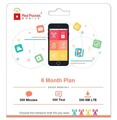Red Pocket Mobile 6 Month Prepaid Phone Plan, No Contract, Free SIM Kit - 500 Minutes, 500 Texts & 500MB LTE - Only 10/mo