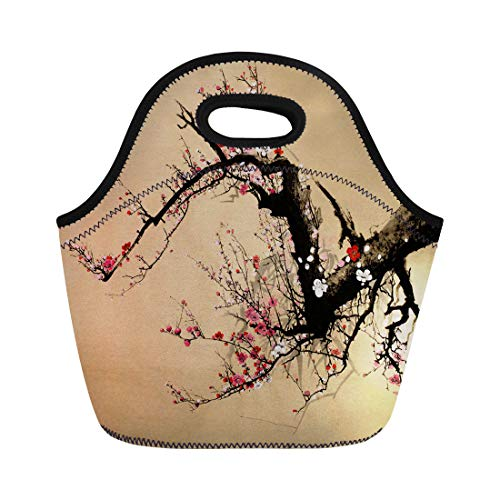 Semtomn Neoprene Lunch Tote Bag Pink Aroma Flowering Plum Tree in Chinese Red Botanical Reusable Cooler Bags Insulated Thermal Picnic Handbag for Travel,School,Outdoors,Work