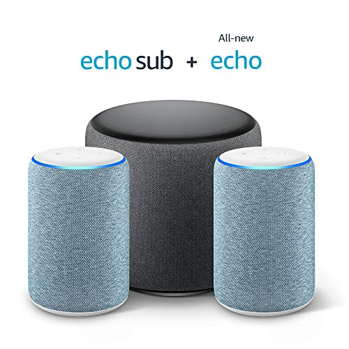 Echo Sub Bundle with 2 Echo (3rd Gen) Devices – Twilight Blue