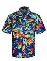 APTRO Men's Colorful Floral Printing Short Sleeved Summer Beach Shirt