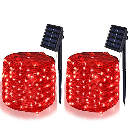 BOLWEO 2 Pack Outdoor Solar String Lights Red, 39.4Ft Solar Garden Lights, 120LED Solar Fairy Lights, Waterproof Starbright Rope Solar Powered Outside Home Patio Pathway Deck(Upgraded Version)