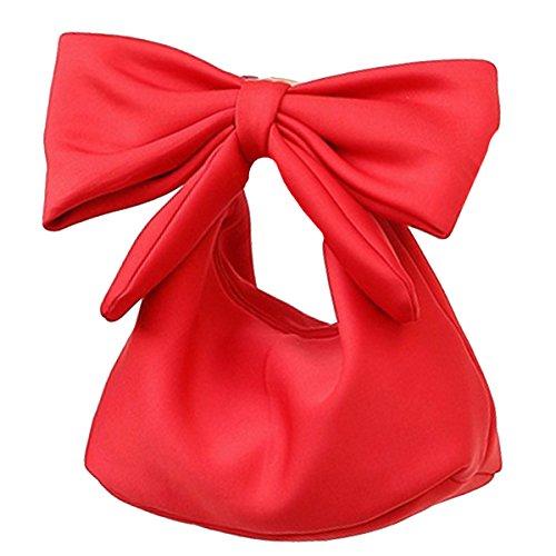 - Monique Women Solid Color Handbag Bow Top-handle Bag Purse Large Travel Tote Evening Party Shoulder Bag Red