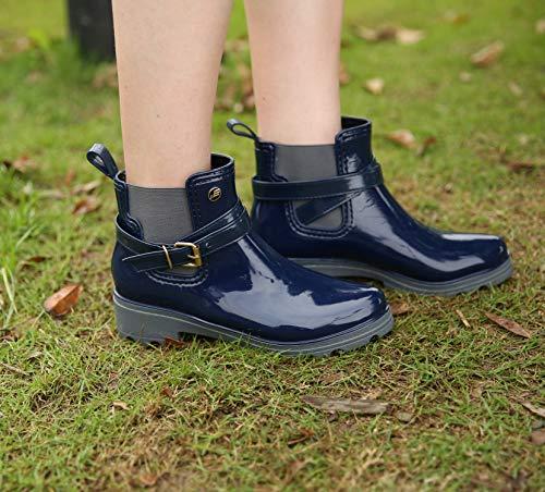 Booties Slip Garden Tongzone Blue Women'S Boots Waterproof on Shoes Rain Chelsea Ankle Rain Short Black S0wZ8S