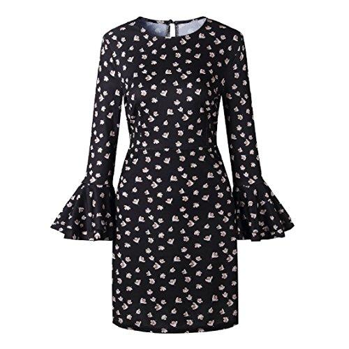 Coolred A Flared Dot Women Potlka Loose Summer Mid Dresses Line Black Sleeve Sun fwq6wXr