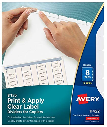Avery Index Maker Clear Label Copier Dividers with White Tabs, 8-Tab, 5 Sets per Pack (11422)