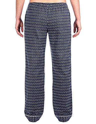 Twin Boat Pantalón Pijama de Franela de Algodón para Mujer Corazones Azul