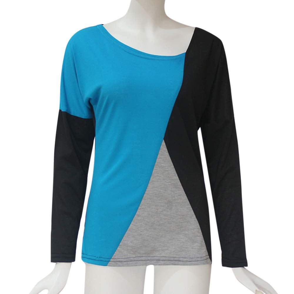 Luckycat Blusa Moda Patchwork Casual para Mujer Color Block O-Neck Manga Larga Camiseta Tops