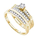 Silvercz Jewels 0.46 ct Round Cut Diamond 14k Yellow Gold Fn Wedding Ring Trio Set For Him & Her