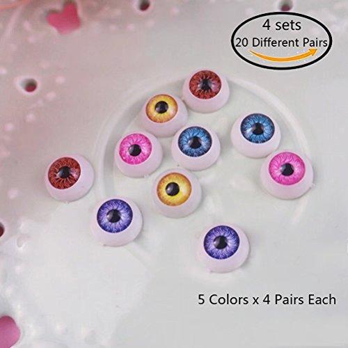 Dengguoli 20 Pairs/Set 12mm Doll Eyeballs, Exquisite and Meticulous Radial Veins in the Eyeballs, Half Round Acrylic Eyes for DIY Dolls Bears Crafts Making (Multi Color) - Eyeball Kit