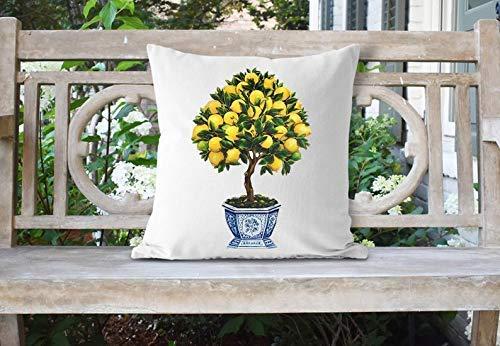 Lemons Topiary - Watercolor Lemon Tree Pillow/Farmhouse Pillow Cover/Housewarming Gift/Pillow Cover/Throw Pillow/Lemon Tree Topiary/Ginger Jar Pillow