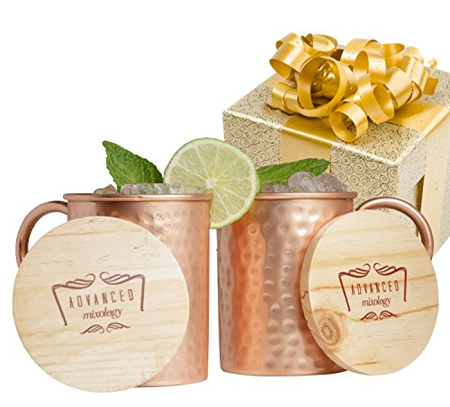 scow Mule Gift Set 100% Pure Copper Mugs (Set of 2)- 16 Ounce with 2 Artisan Hand Crafted Wooden Coasters (Antique Barrel Bar)