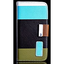 myLife (TM) Army Green + Sky Blue {Stripe Design} Faux Leather (Card, Cash and ID Holder + Magnetic Closing) Slim Wallet for the All-New HTC One M8 Android Smartphone – AKA, 2nd Gen HTC One (External Textured Synthetic Leather with Magnetic Clip + Internal Secure Snap In Hard Rubberized Bumper Holder)