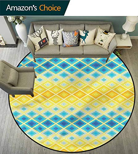 RUGSMAT Yellow and Blue Washable Creative Modern Round Rug,Ethnic Mosaic Tile Pattern Floor Seat Pad Home Decorative Indoor Round-63